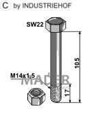 63-14115 Śruba z nakrętką kontrującą M14x1,5 - 10.9