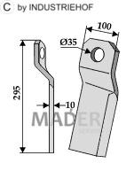 63-IND-155L Nóż mulczera skręcony krótki lewy