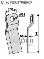 63-IND-155R Nóż mulczera skręcony krótki prawy
